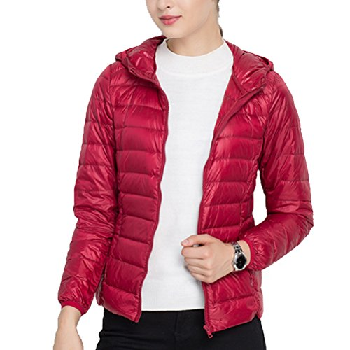 Ultra mujer's Zhhlaixing Dark Casual Winter Fashion Down Jacket Lady's Slim Hood With Red Light Coat H0d0wAq