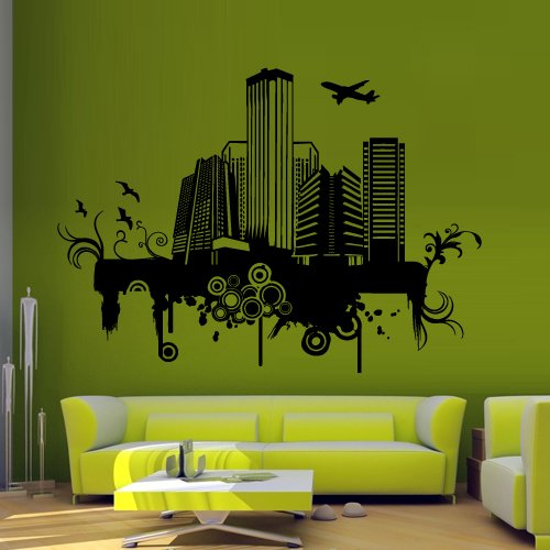 - Wall Decal Sticker Ny City Map New York America Mural Plane Inscription M1245