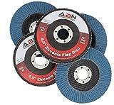 "ABN 4.5"" x 7/8'' T27 80 Grit High Density Zirconia Alumina Flat Flap Disc Grinding Sanding Sandpaper Wheels 5 Pack"