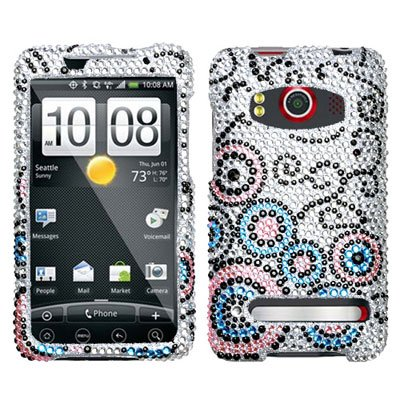 HTC EVO 4G Branded PREMIUM FULL DIAMOND PROTECTOR - BUBBLE FLOW Hard Case, Cover, Snap On, - Diamond Protector Faceplate