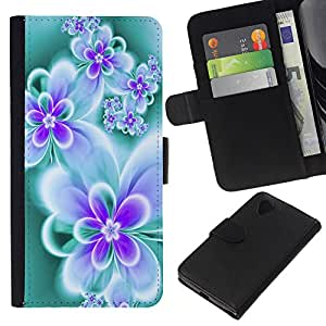 Planetar® Modelo colorido cuero carpeta tirón caso cubierta piel Holster Funda protección Para LG Nexus 5 D820 D821 ( Floral de la mariposa del trullo vibrante neón Colores )