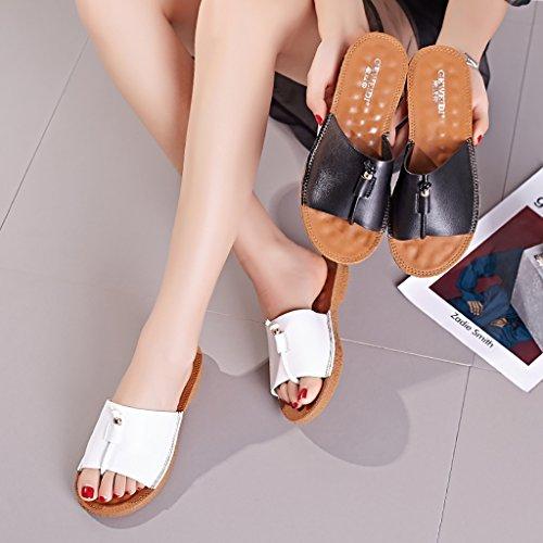 PENGFEI Chanclas de playa para mujer Pareja zapatillas De moda de ocio Playa zapatillas estudiante de verano Antideslizante plana sandalias blanco y negro Cómodo y transpirable ( Color : Blanco , Tama Blanco