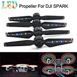 Gbell 2Pairs LED Flash Propellers Blades Props USB Rechargeable for DJI Spark Drone,Drone Accessories (Black)