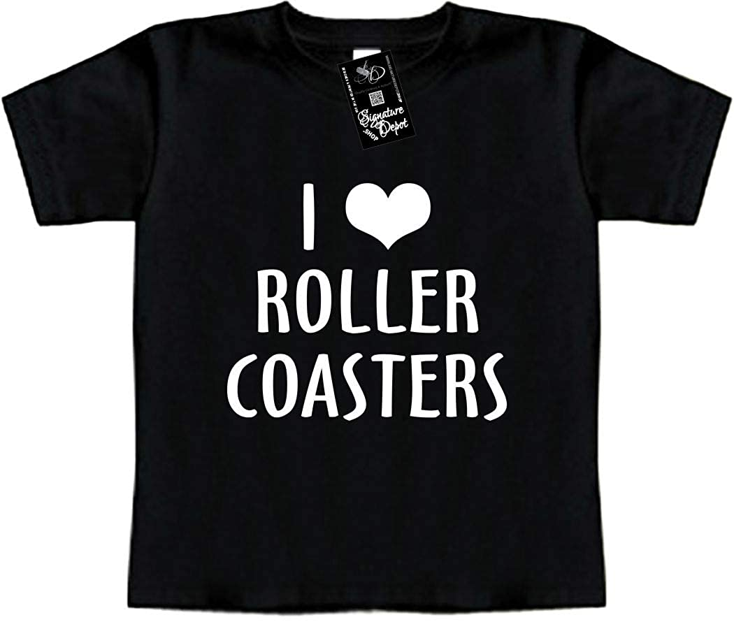 Heart Funny Baby T-Shirt Roller Coasters I Love Toddler Tee