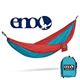 Eagles Nest Outfitters ENO DoubleNest Hammock, Portable Hammock for Two, Aqua/Red