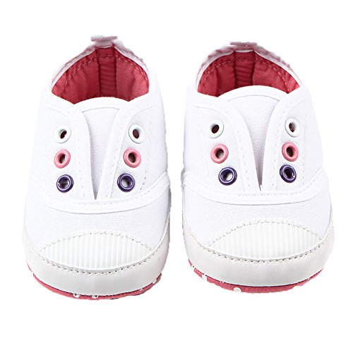 Fire Frog Baby Spring and Autumn Shoes - Zapatos primeros pasos de Lona para niño blanco