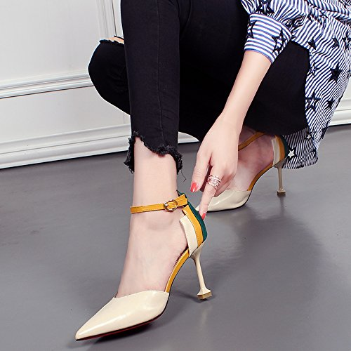 KHSKX Hueca De Otoño De Beige Americanos Y Altos Sharp Tacones Sexy Una Moda Zapatos Zapatos Nueva Europeos Hebilla De Finos Tacon De Tacones Palabra Con Gato frfwqFa