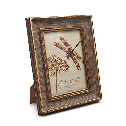 Afuly Antique Picture Frame 5x7 Vintage Photo Frames in Brown and Gold -Made of Recycled PS and Glass Wide ()