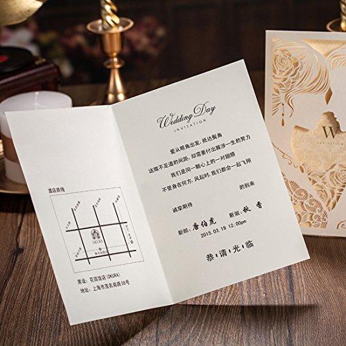 Brides Wedding Invitation Kit: WISHMADE 50 Pieces Beige Laser Cut Wedding Invitations