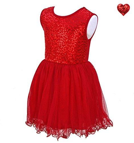 Little Girls Valentines Day Dress - Red Princess Ballerina Dress & Hairbow Set, Red, 6 (Heart Ballerina Dress)