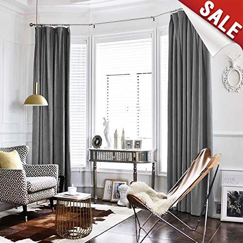 Velvet Drapes - Velvet Curtain Grey Living Room Rod Pocket Window Curtain Panel 84 inch Long Bedroom Thermal 1 Panel