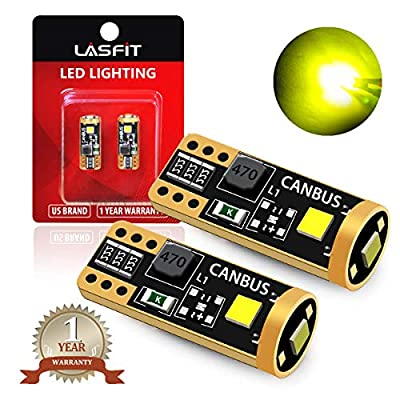 LASFIT 400 Lumens 194 LED Light Bulb, Extremely Bright T10 168 2825 W5W Wedge 3030 Chipsets Error Free for Car Interior Dome Map Door Courtesy License Plate Lights, 12-24V, Gold Yellow(Pack of 2): Automotive