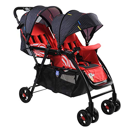 Tandem Double Toddler & Baby Stroller, Infant Baby Pushchair Twin Seat, Multiple Seating Configurations, Reclining Seats, Large Storage Basket