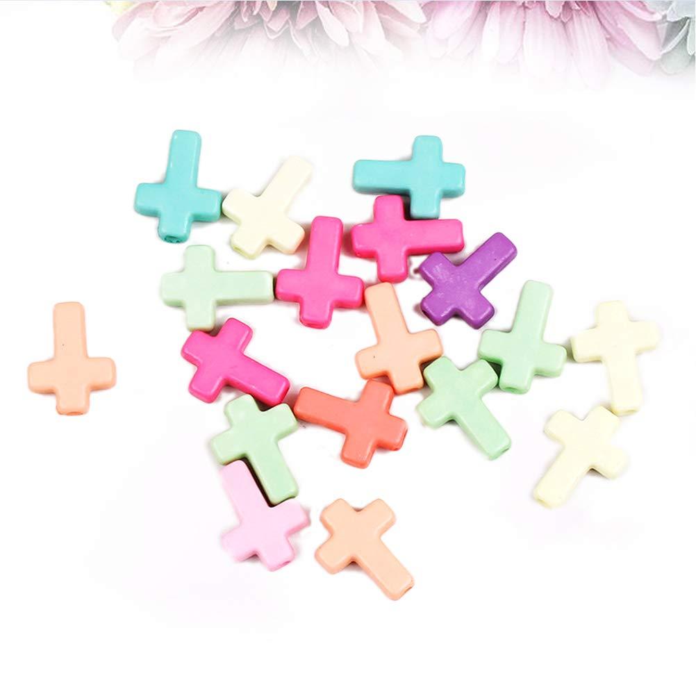 SUPXOV Mixte Couleur Chunky Acrylique Croix Perles Pendentif Charme pour la Fabrication de Bijoux 100 pcs