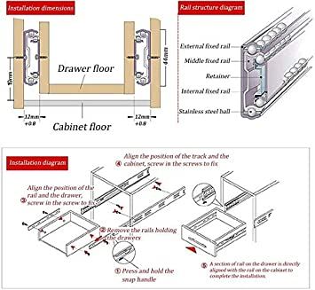 Gaoominy Drawer Runners Drawer Slides 3-Section Rails Ball Bearings Heavy Duty Side Mount Telescopic Metal Adjustable Track Full Extension Mute Silver Size : B|20in//50cm