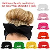 Habibee Women Headbands Turban Headwraps Hair Band Bows Accessories for Fashion Sport (Solid Color 8pcs)