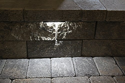 Wall Eye II - 12 volt COOL (4000 K) 2 watt CMD Flat LED - Low-Voltage Landscape Light for Retaining Wall, Column & Stair Night Time Safety Illumination - Gray Powder Coated Housing