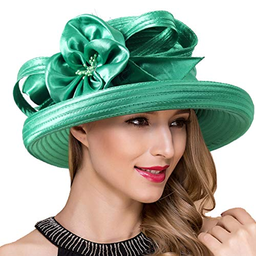 Lady Church Derby Dress Cloche Hat Fascinator Floral Tea Party Wedding Bucket Hat S051 (S710-Green) ()