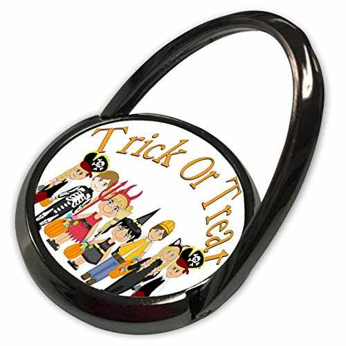 3dRose Anne Marie Baugh - Halloween - Cute Illustration Of Trick Or Treaters With Trick Or Treat Words - Phone Ring (Halloween Treats For Trick Or Treaters)