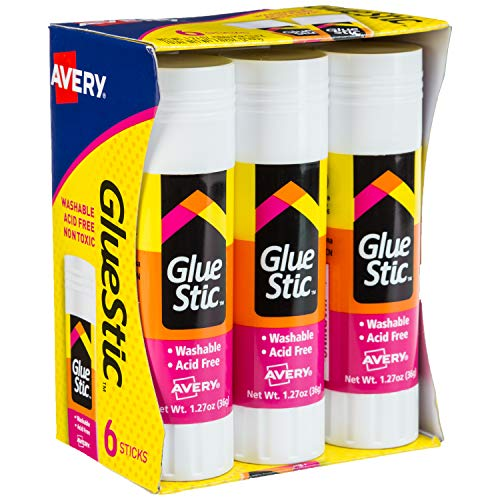 Avery Glue Stic White,1.27 oz., Washable, Nontoxic, Permanent Adhesive, 6 Glue Sticks for Kids - Scrapbook Stic Glue