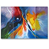 Hand Painted Split Canvas Paintings Abstract Unframed 3 Pieces - 48X32 inch (122X81 cm) for Living Room Bedroom Dining Room Wall Decor To DIY Frame Home Decoration by Neron Art