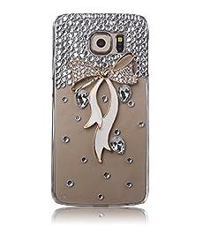 Samsung Galaxy S6 Edge Plus / S6 Edge+ Case, Sense-TE Luxurious Crystal 3D Handmade Sparkle Glitter Diamond Rhinestone Ultra-Thin Clear Cover with Retro Bowknot Anti Dust Plug - Bow