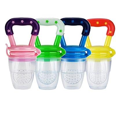 4 piezas Alimentador de alimentos para bebés, Comedero de frutas juguetes de dentición para Bebés Mesh Feeder Teethers Dentición juguete dentición de ...