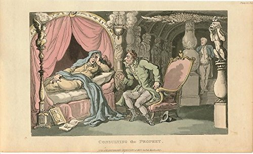 Medium's advice bedside prophet ca. 1820 vintage old Rowlandson Ackermann print