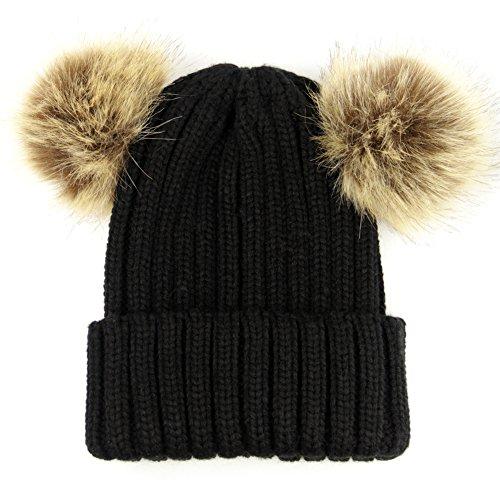 Dikoaina Winter Chunky Knit Double Fur Pom Pom Beanie Hat for Women Girls