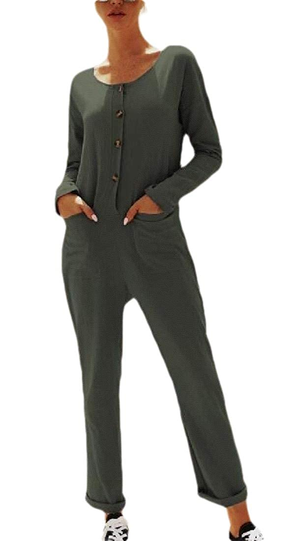 HANA+DORA Women V Neck Long Sleeve Button Down Jumpsuit Long Pants Rompers