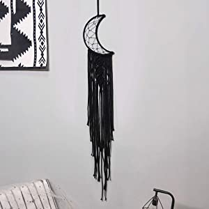 O-heart Macrame Wall Hanging Black Moon Dream Catcher with Crystal Stone Boho Woven Wall Tapestry Chic Home Decor for Kids Bedroom Decor Bohemian Home Decoration Apartment Ornament Craft Gift