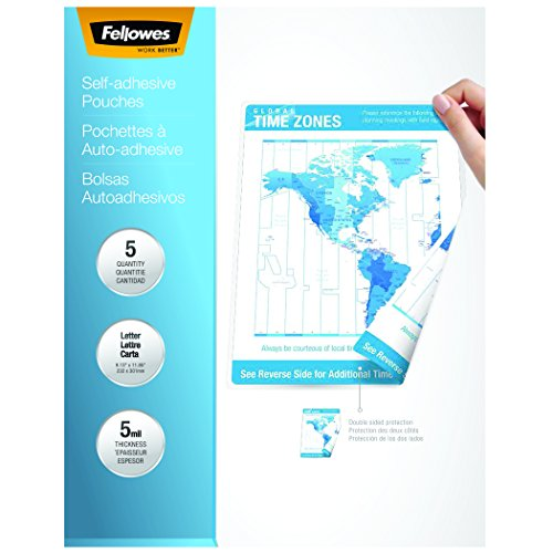 Fellowes Laminating Sheets, Self Adhesive, Letter Size, 5 Mil, 5 Pack (52205) (Pouch Self Adhesive)