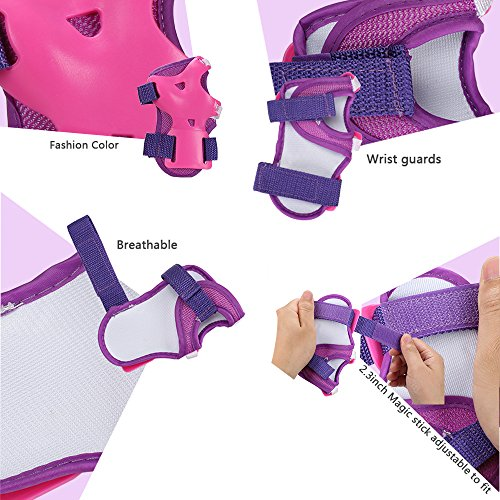 eNilecor Kids/Youth Rollerblade Roller Skates Cycling Knee Pads Elbow Pads Wrist Guards Protective Gear Set for BMX Bike Skateboard Inline Skatings Scooter Riding Sports (Purple/Pink, Small) by eNilecor (Image #3)