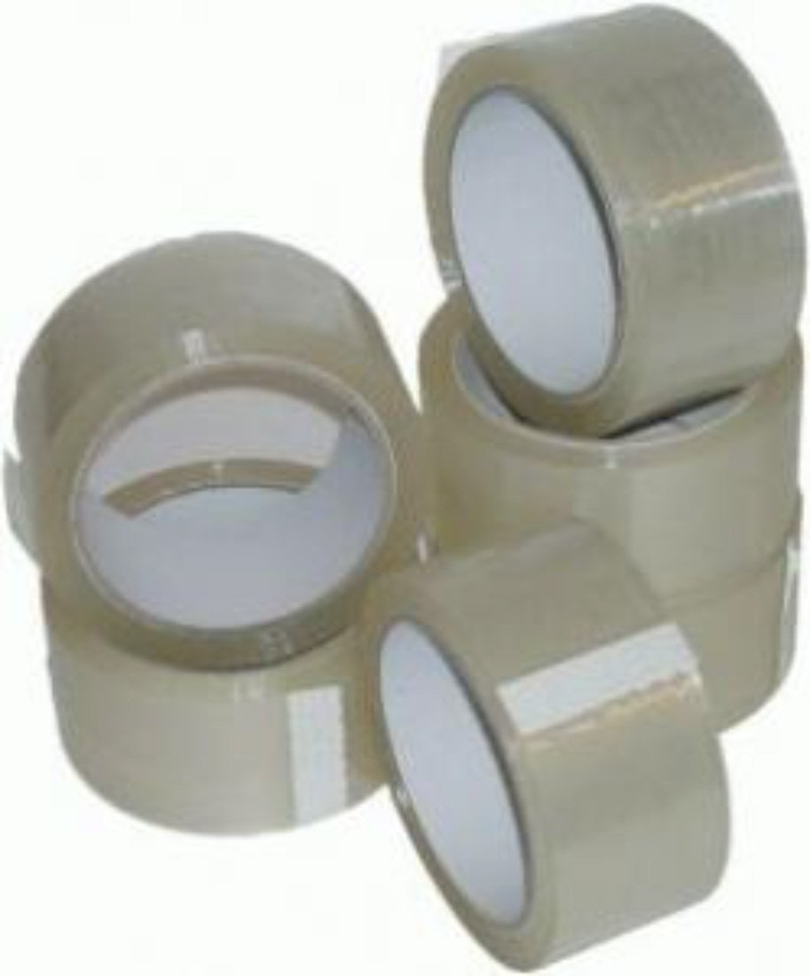 6 LARGE ROLLS OF CLEAR POLYPROPYLENE PACKAGING PARCEL TAPE CELLOTAPE - 2 INCHES WIDE x 66 METRES PER ROLL - 50mm x 66m - BOX SEALING PACKING MAILING POSTAL POSTAGE WAREHOUSE GENERAL TAPES SUPPLIES UKPS