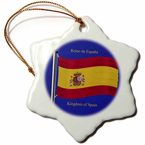 3dRose orn_63207_1 The Flag of Spain on a Blue Background with Kingdom of Spain in English and Spanish Snowflake Porcelain Ornament, 3-Inch by 3dRose
