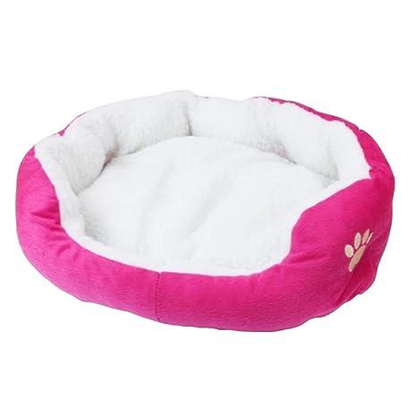 MagiDeal Colchón Cama de Peluche para Mascotas Perro Gato Accesorios Complimentos Suministros Cómodo - Rosa Roja