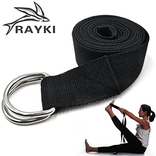 Rayki Yoga Strap, Fitness Exercise Strap with Adjustable D-Ring Buckle, Eco-friendly Natural Cotton Strap for Stretching, Flexibility and Physical Therapy