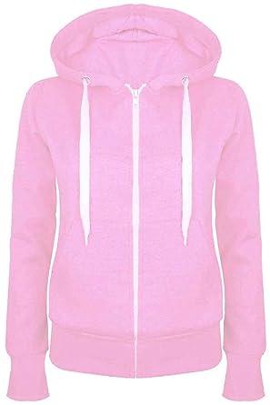 d869ed368 Fashion Star Plain Hoody Girls Zip Top Womens Hoodies Sweatshirt Jacket  Plus Size 6-22