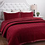 "Velvet Quilt Set King(106""x96"") Size Burgundy Leaf Pattern Hypoallergenic All Season Lightweight by Bedsure"