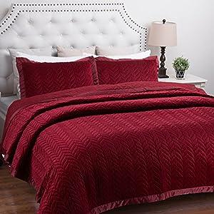 Velvet Quilt Set King Size Burgundy Leaf Pattern Hypoallergenic All Season Lightweight by Bedsure