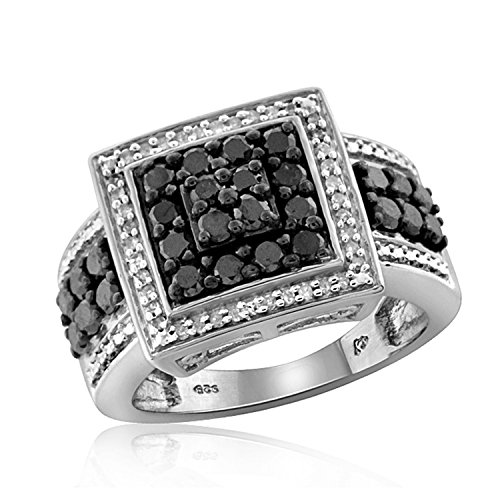 1.00 Carat T.W. Black And White Diamond Square Shape Sterling Silver Ring (White Diamond Square Ring)