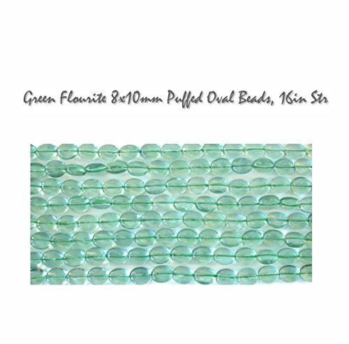 - Genuine Green Flourite 8x10mm Puffed Oval Gestone Beads, 16 inch strand for Jewelry Making