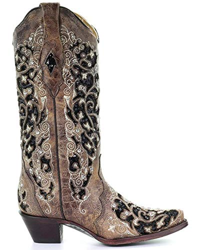 Boot CORRAL Women's Snip Embroidered Western Floral A3569 Brown Toe q6Uf6IwP