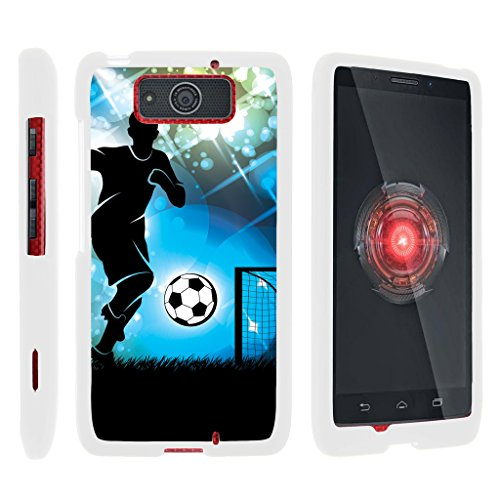 Compatible with Motorola Droid Maxx Case | Droid Ultra Case [Slim Duo] Fitted 2 Piece Hard Snap On Case Rubberized Coating on White Sports and Games by TurtleArmor - Soccer Player Graphic