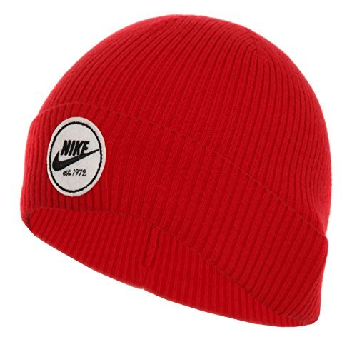 Nike Mens Cuffed Core Beanie Sull Cap Gym Red/White 628672-687 (Wool Beanie Nike)