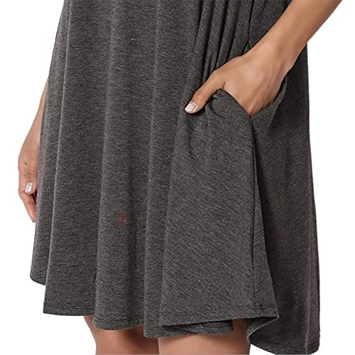 Tunic Sleeve AIDIER dark Loose Grey Dress Top Long Long Shirt Womens Short T Pocket Swing ZzFSgqRZ
