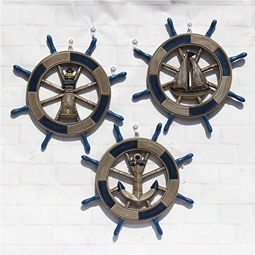 Helmsman Hanging (SU@DA Mediterranean style 45CM antique old helmsman wall hanging boat rudder steering wheel pendant 2pcs , blue sail , 43cm)