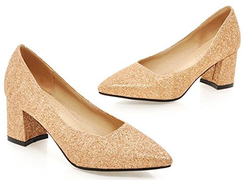 Sequins Pointed Dressy Gold IDIFU Toe Pumps Chunky Low Shoes Slip On Top Heels Mid Womens ETaHnfqwp