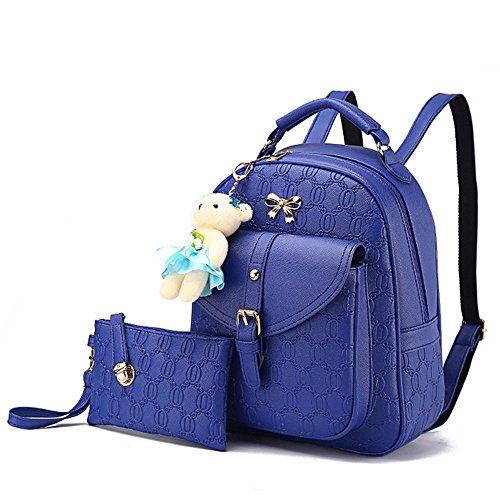 Mochila de cuero PU Viajes Mochila Bolsas Escuela Niñas Mochila Mujer Daypack con arco para las mujeres Blanco Bolsos Mochila Azul Bolsos Mochila