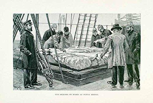 1891 Wood Engraving Fur Dealers Punta Arenas Strait of Magellan Chile Patagonia - Original Wood Engraving - Magellan Design